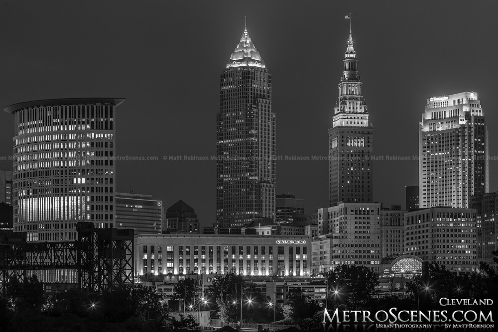 Downtown Cleveland Black and White at night