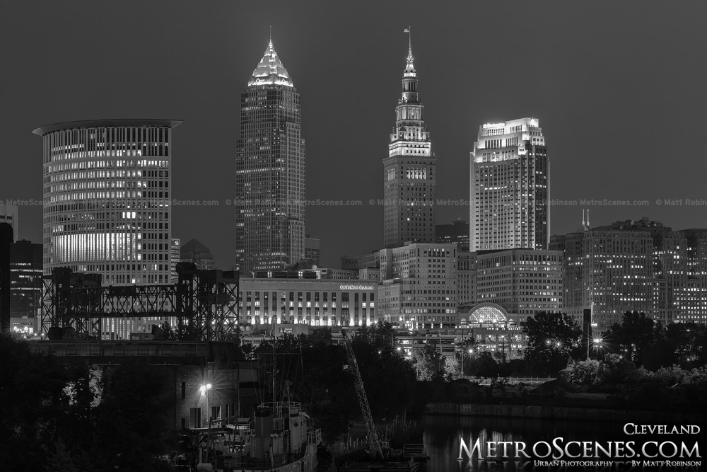 Cleveland at night Black and White Key Tower