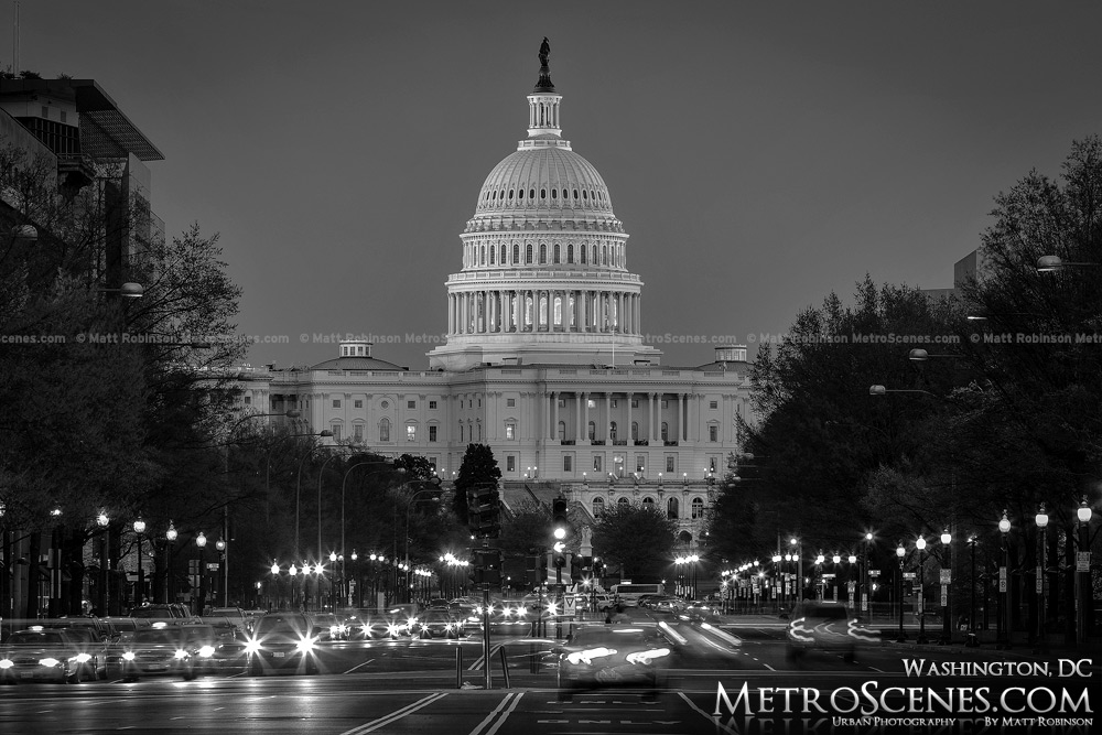 United State Capitol Black and White Washington DC