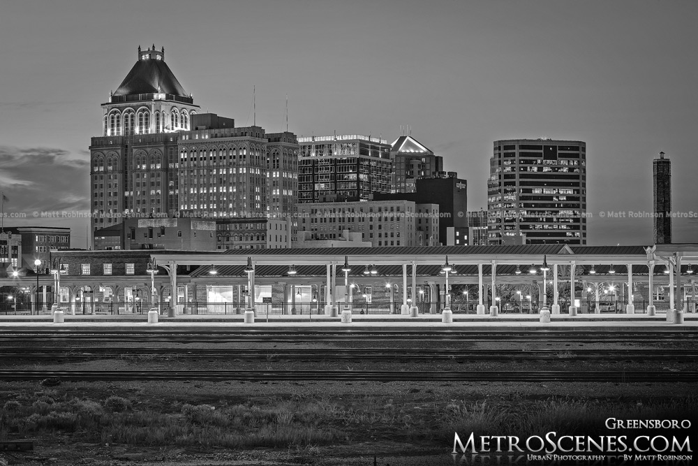 Greensboro Skyline Black and White at night