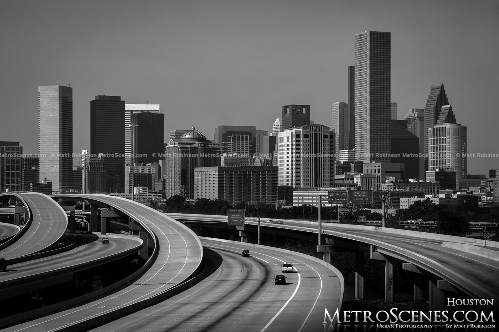 Houston Texas Skyline Black and White