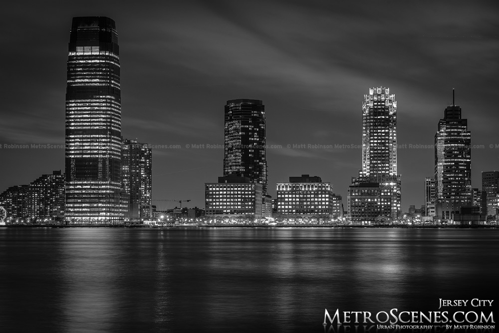 Jersey City Skyline at night Black and White