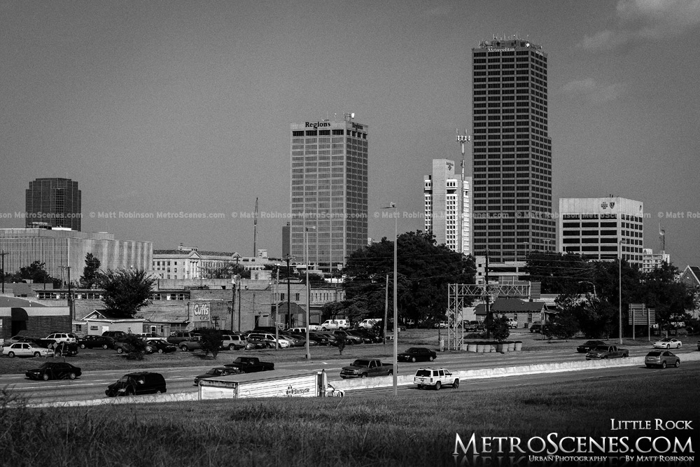 Little Rock Skyline Black and White