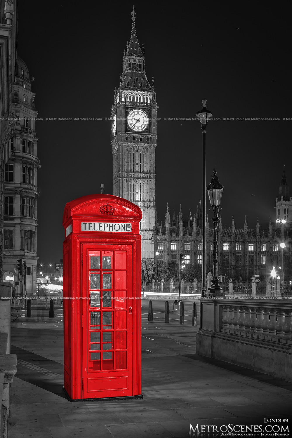 London Big Ben Black and White and Red Telephone Box