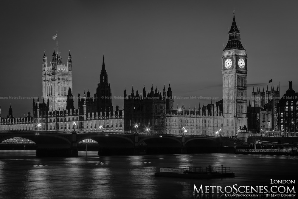 Palace of Westminster London at night Black and White