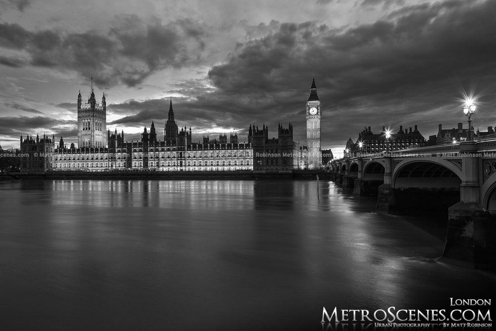 Palace of Westminster in London with River Thames at night Black and White
