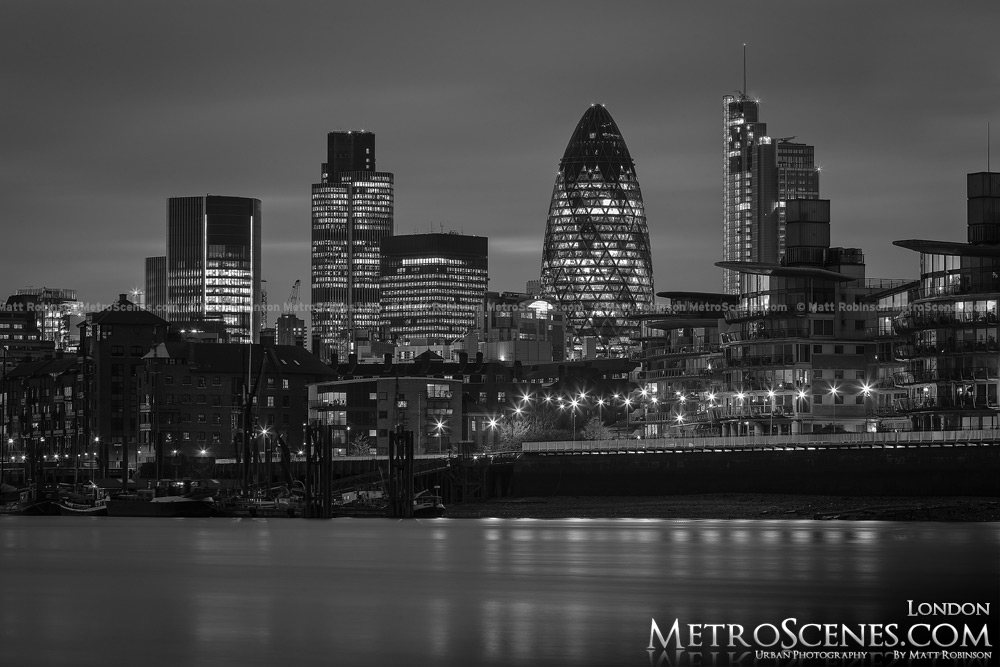 London Skyline at night Black and White