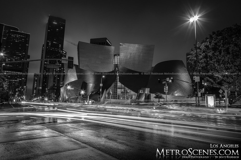 Walt Disney Concert Hall Los Angeles at night Black and White