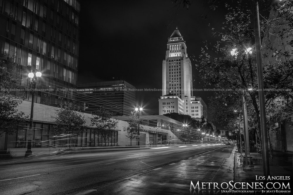 Los Angeles City Hall Black and White at night