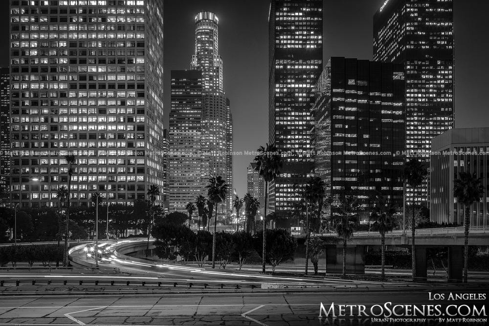 Black and White City of Los Angeles at Night