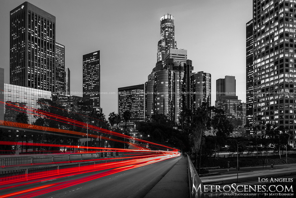 Los Angeles Skyline Black And White Wallpaper