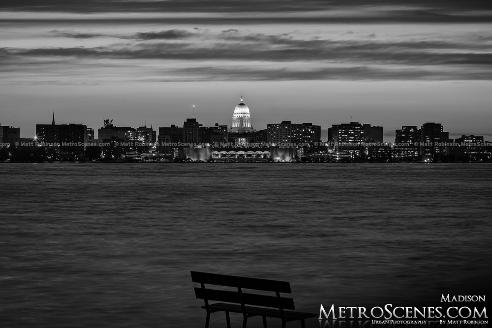 Madison Wisconsin Black and White at night