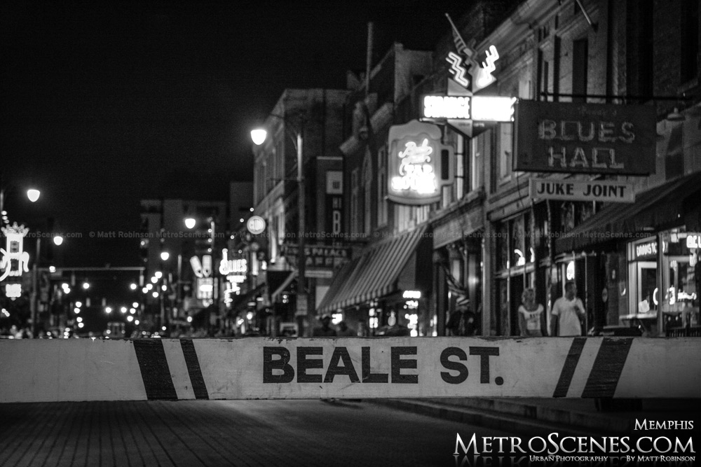 Beale Street Memphis Black and White at night