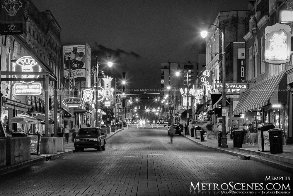 Beale Street Memphis Black and White