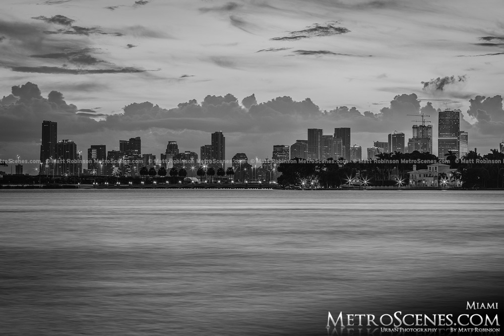 Miami Skyline Biscayne Bay Black and White