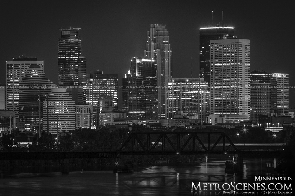 Minneapolis Skyline at night Black and White