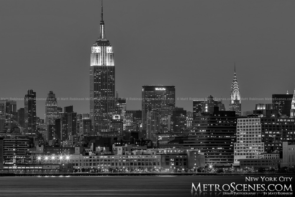 New York City Empire State Building at night Black and White