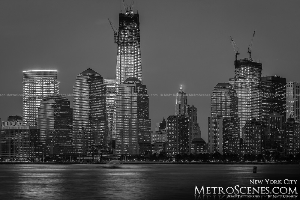 Lower Manhattan at night Black and White