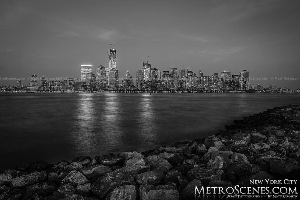 World Trade Center at night Black and White