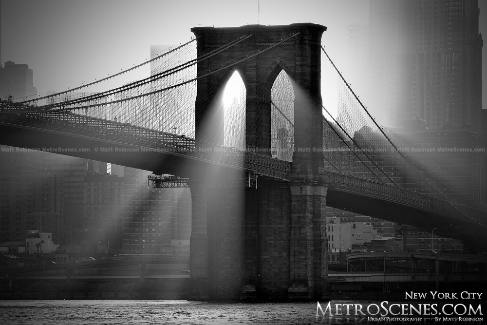 Brooklyn Bridge Black and White with sunrays