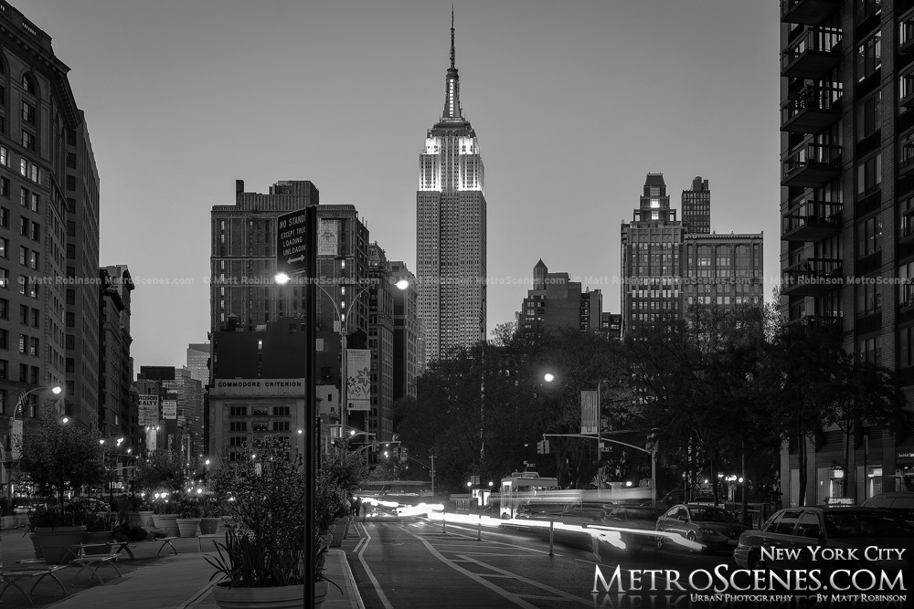 Empire State Building at night Black and White