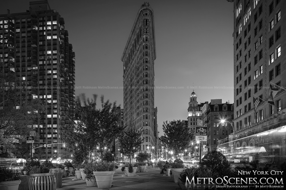Flatiron Building at night Black and White