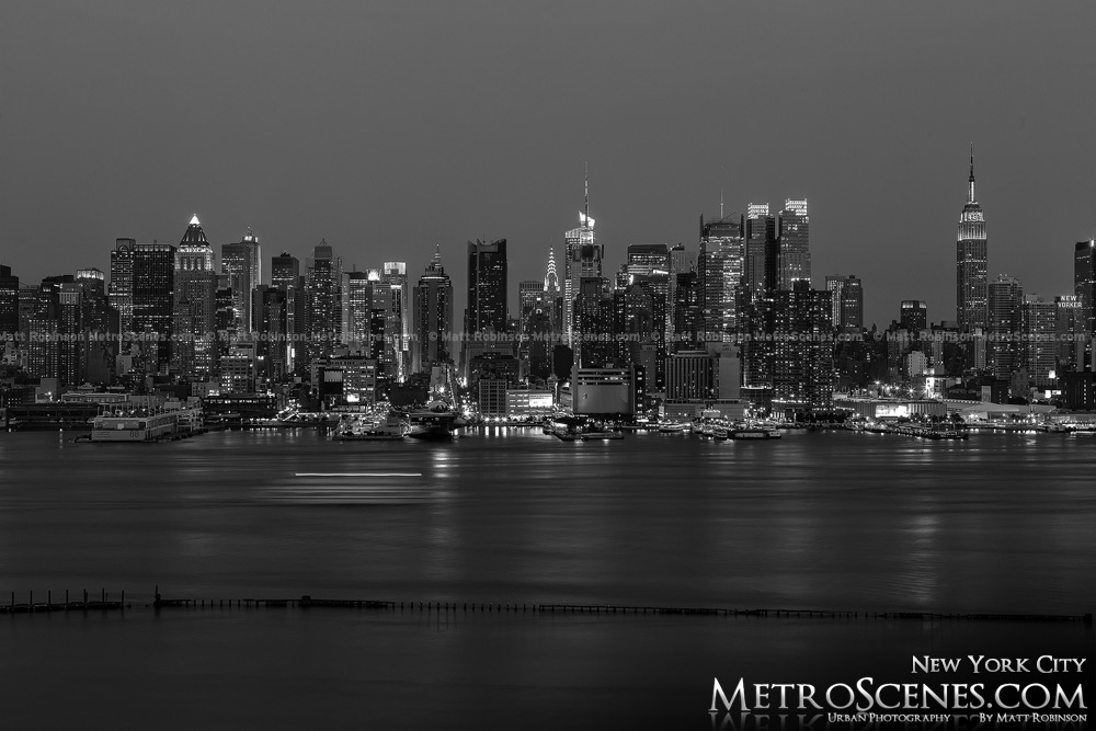 Weehawken New York City Midtown Skyline at night Black and White