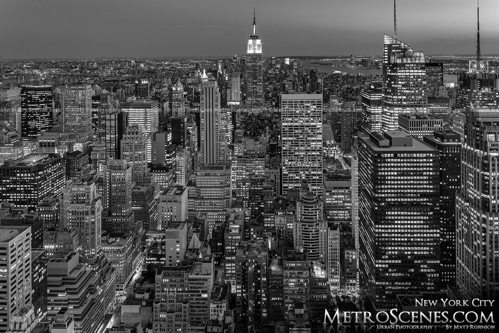 Top of the Rock New York City at night Black and White