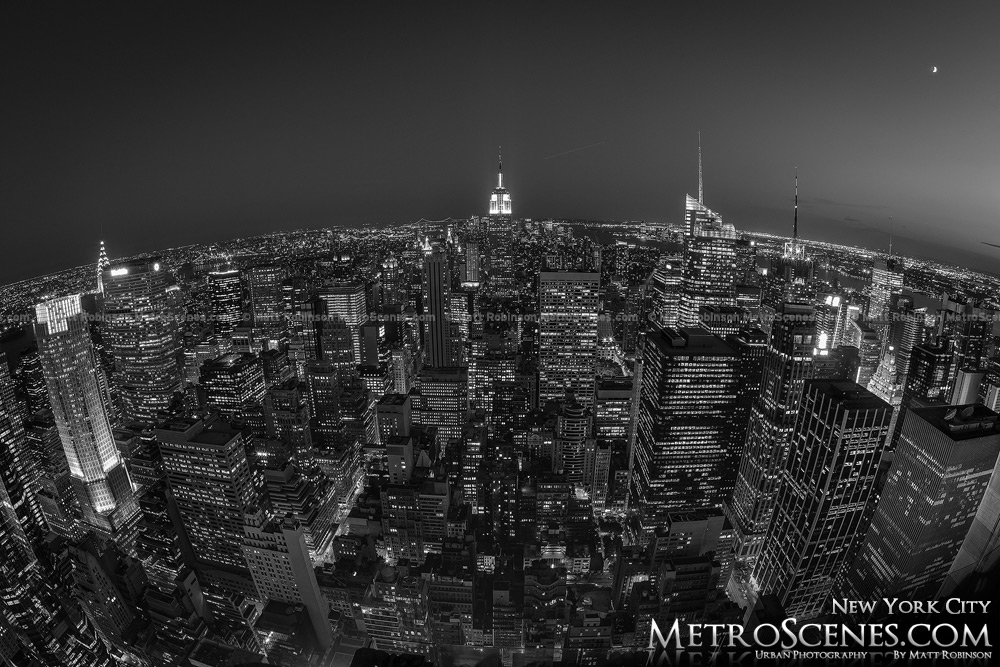 Fisheye Top of the Rock New York City at night Black and White