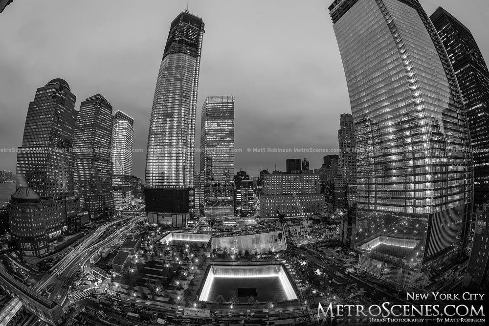 World Trade Center and Memorial at night Black and White