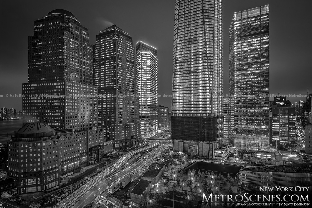 West Side Highway World Financial Center at night Black and White
