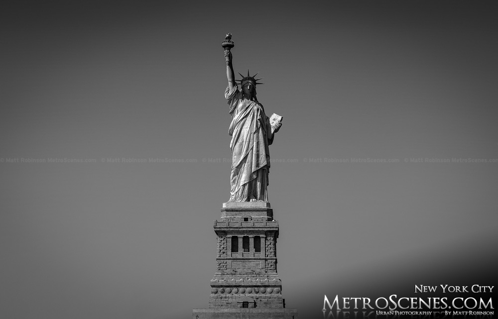 Black and White State of Liberty