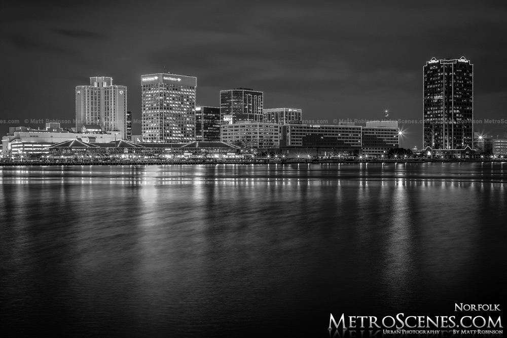 Norfolk Virginia Skyline at night Black and White