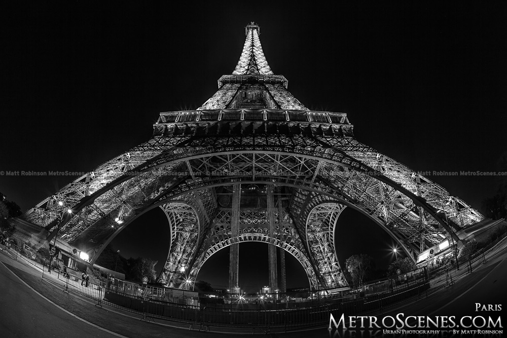 Fisheye of Eiffel Tower at night Black and White
