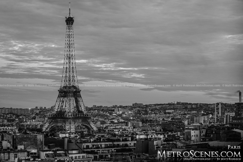 Paris France Black and White Skyline Eiffel Tower