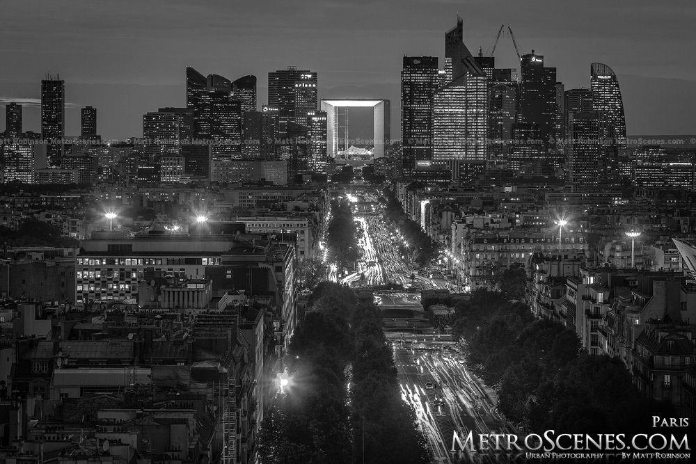 La defense skyline at night black and white paris