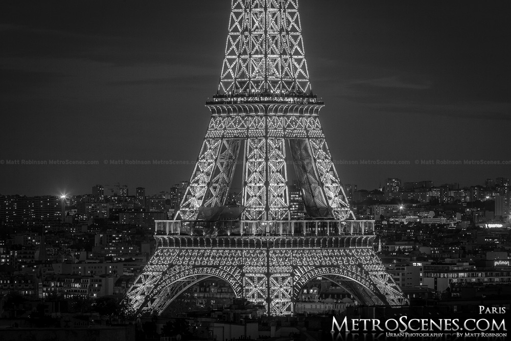 Paris France at night Black and White - Eiffel Tower