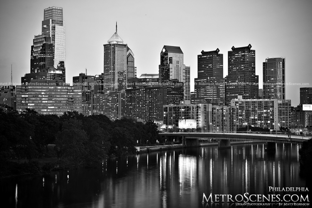 City skyline night black and white