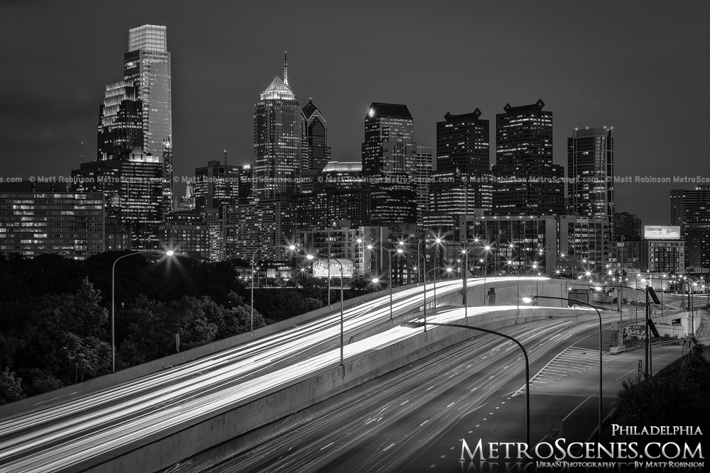 Downtown Philadelphia at night Black and White