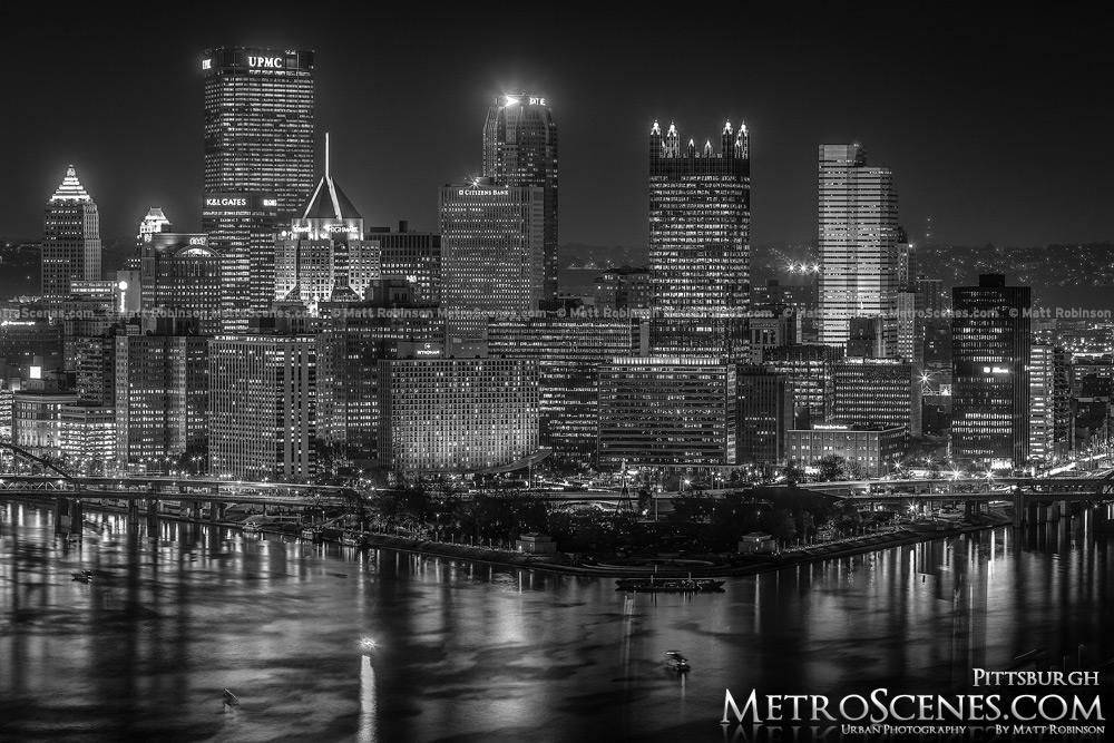 Pittsburgh Skyline at night Black and White West End Overlook