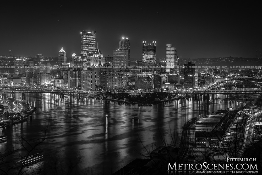 Light Up Night Pittsburgh Skyline Black and White