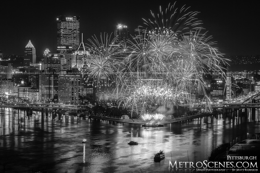 Light Up night Fireworks Pittsburgh Black and White