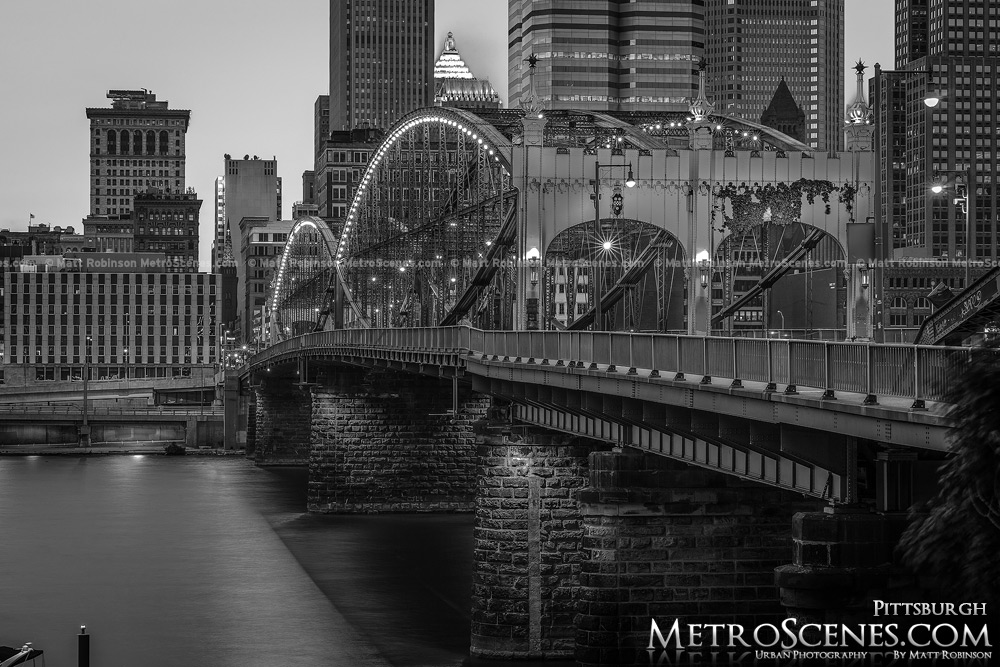 Smithfield Street Bridge Pittsburgh Black and White