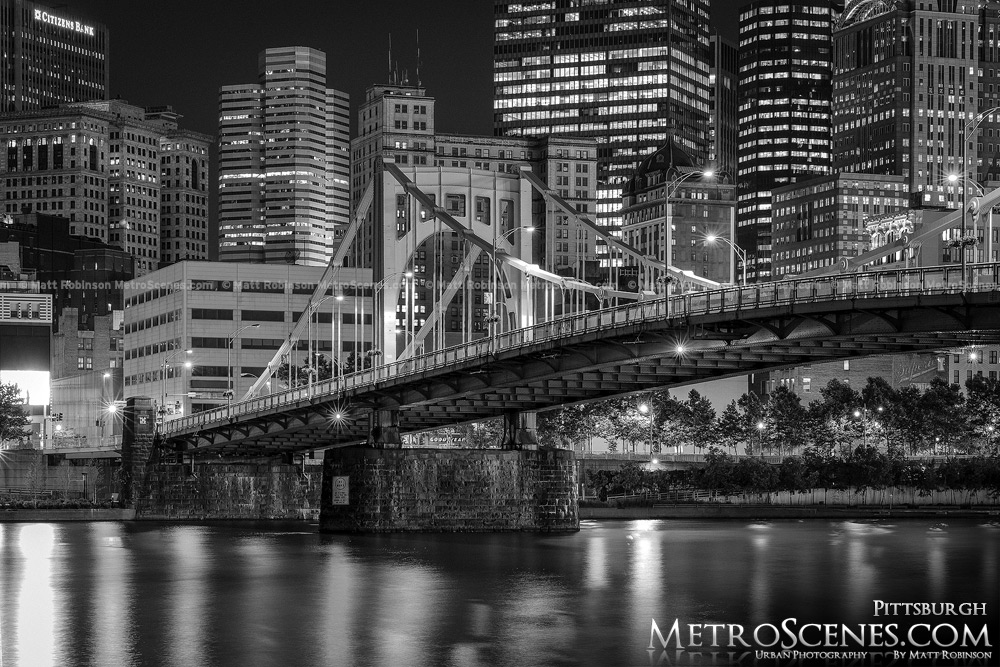 Allegheny River with 9th Street Bridge Pittsburgh at night Black and White