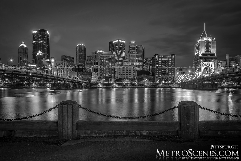 Pittsburgh Skyline at night from the North Shore Black and White