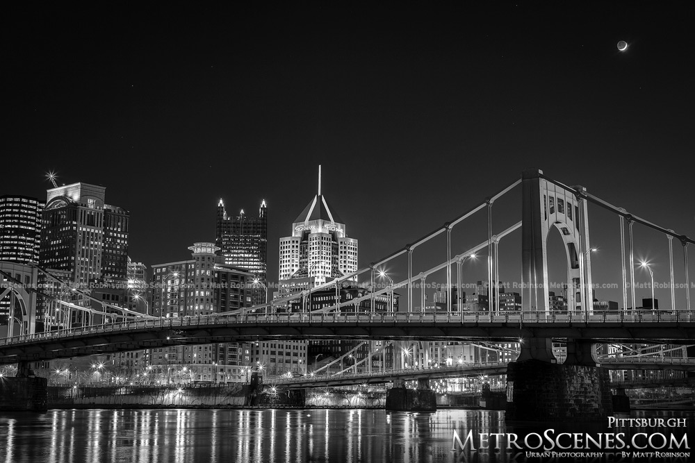 Pittsburgh Skyline and Bridges at night Black and White