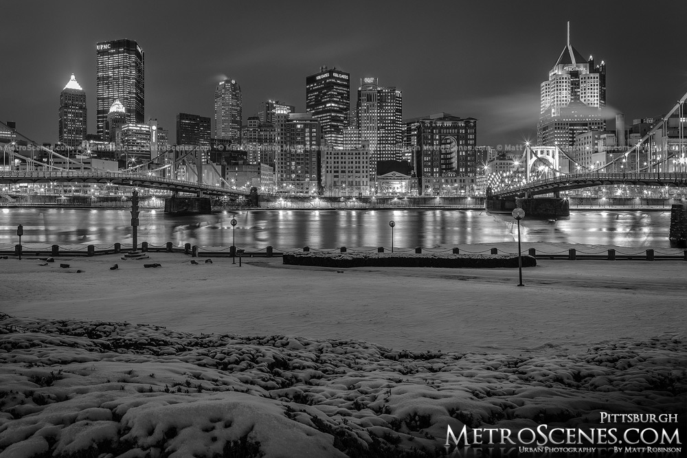Snowy City of Pittsburgh at night Black and White