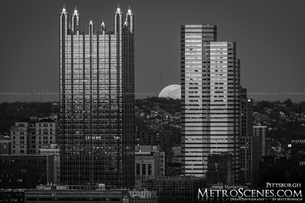 Moonrise Black and White Pittsburgh Skyline