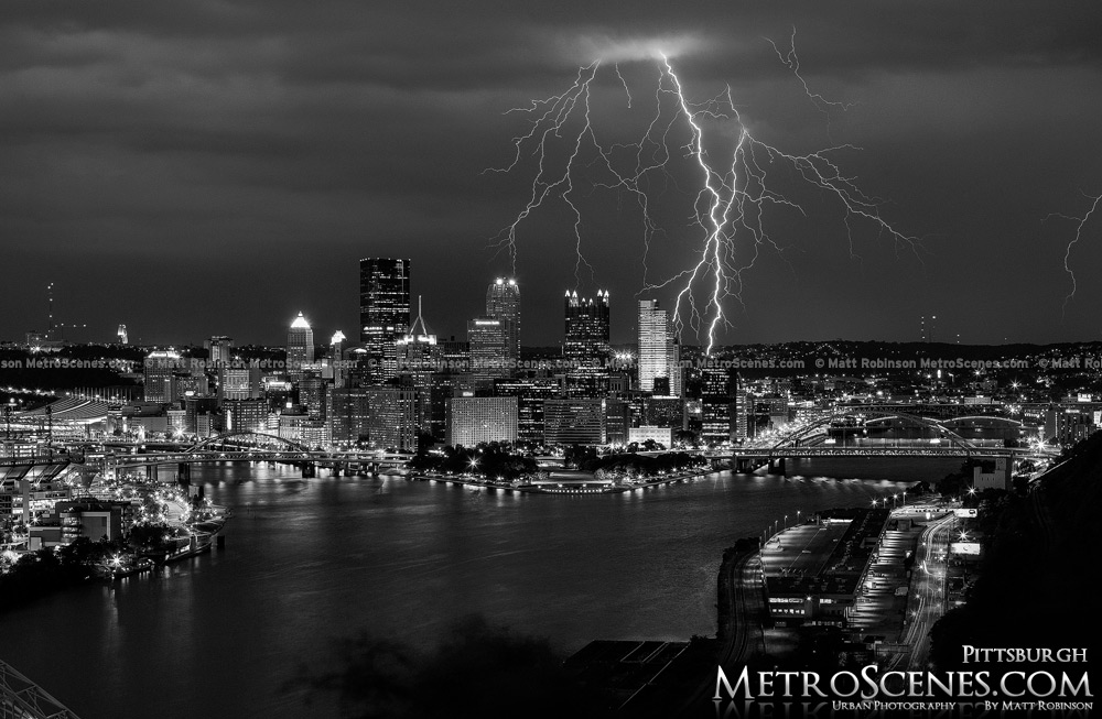 Lightning over Pittsburgh Black and White
