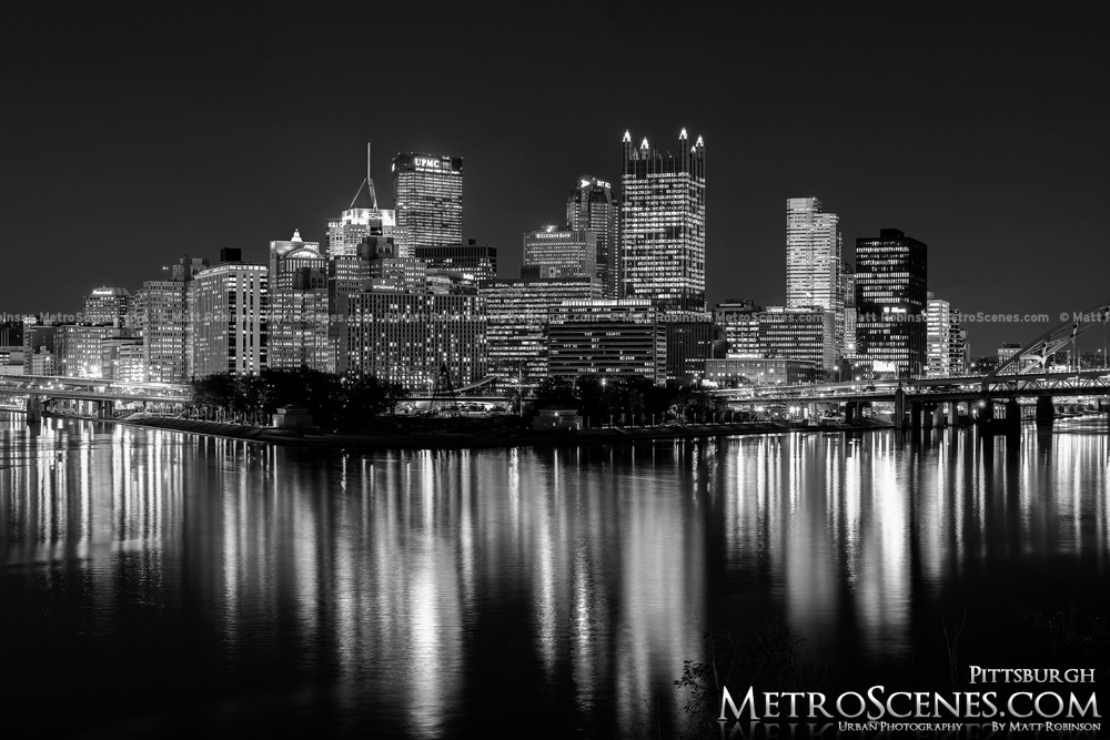 Pittsburgh Skyline Black and White Light up night